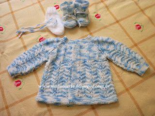 Crochet et Tricot da Mamis: Receita do casaquinho Azul em tricot para bebê