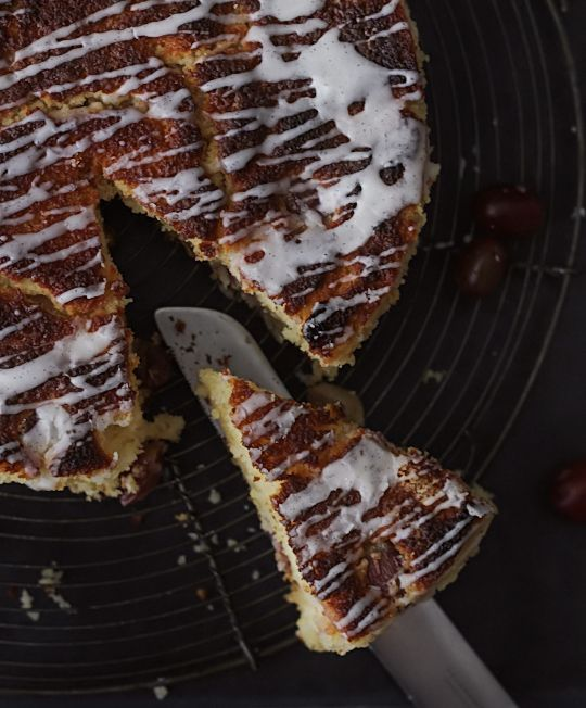 Grape Tea Cake with Vanilla Bean Glaze