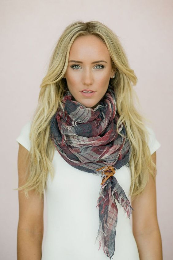 plaid woven handkerchief scarf with leather square scarf