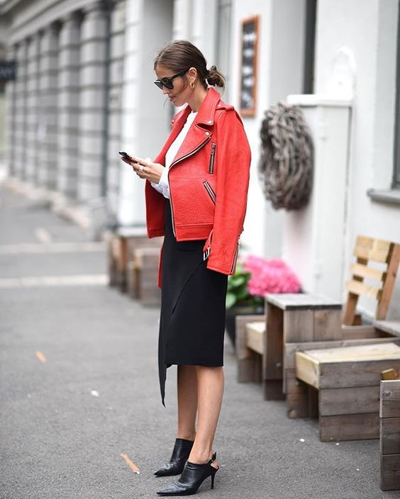Think cold season is reserved for boring clothes? Red leather jacket will brighten everything up!