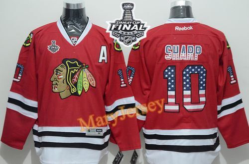 Only $34.88 please email me at maryjerseyelway@gmail.com for Blackhawks 10 Patrick Sharp Red USA Flag Fashion 2015 Stanley Cup Stitched NHL Jersey