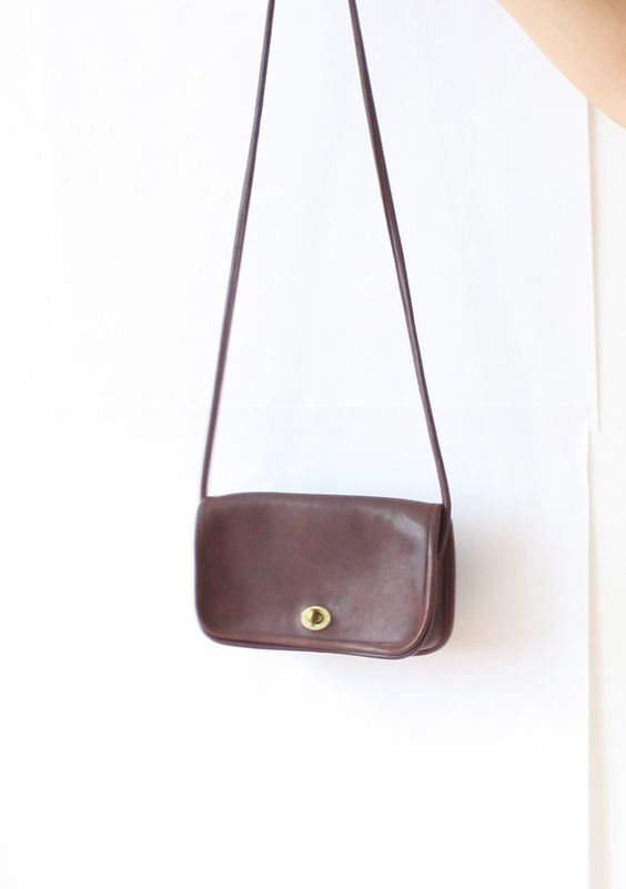 Vintage Brown Leather Coach Purse, Small Cross Body Bag, Spaghetti Strap 1980s, Made in the U.S.A. New York City - pinned by pin4etsy.com