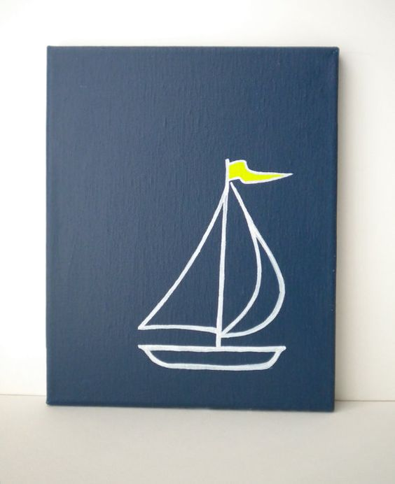simple sail boat- maybe to paint on for the makers towel?