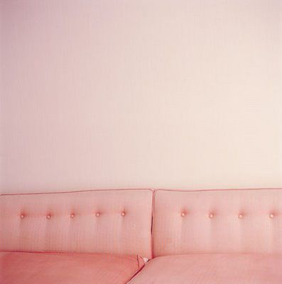 Pink couch. Cozy.