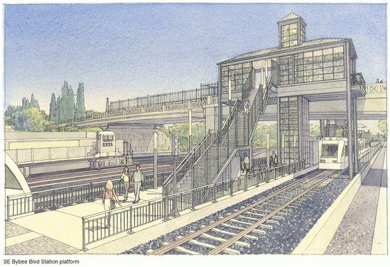SE Bybee Blvd Station Rendering - Portland-Milwaukie Light Rail (Orange line)