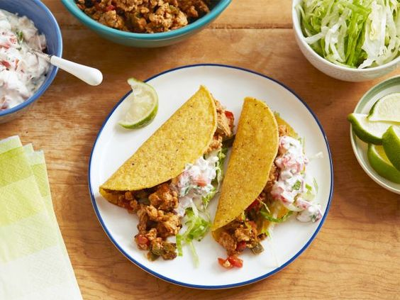 Speedy Chicken Tacos with Salsa  #RecipeOfTheDay: Anderson Foodnetwork, Ground Chicken Tacos, Ground Chicken Taco Recipes, Mexican Food, Creamy Salsa, Food Network/Trisha, Food Network Recipes, Tacos Recipe, Recipes Dinner