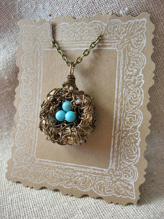 Blue egg bird nest necklace with fabric by WhiteGooseEmporium, $22.00