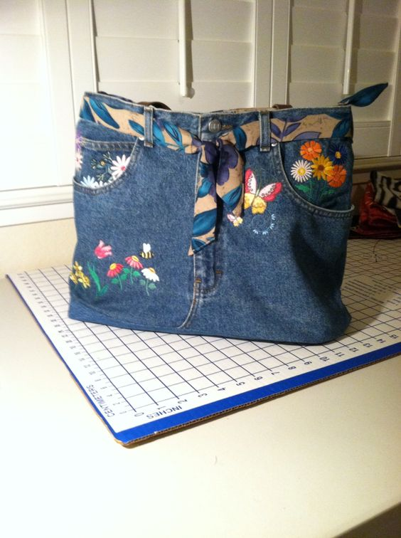 Finished denim bag, fully lined and zip across the top.