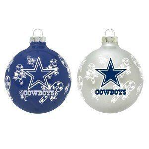 Dallas Cowboys Large Festive Glass Ornament - White