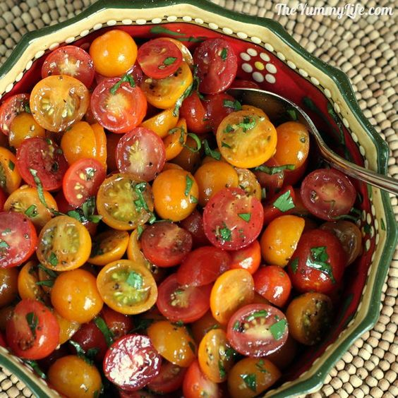 Easy Marinated Cherry & Tomato Herb Salad. Assemble this fresh & healthy side in minutes.  From TheYummyLife.com