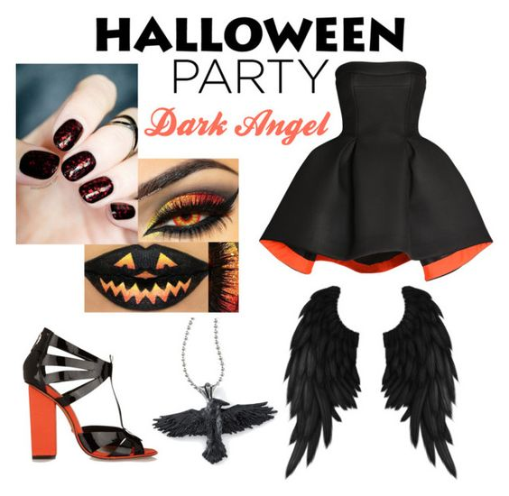 """""""Dark Angel"""" by kileyrutz ❤ liked on Polyvore featuring Parlor, Schutz and Halloweenparty"""