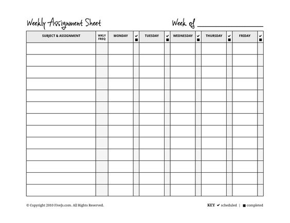 Free Printable High School and College Course Assignment Planner - assignment sheet template