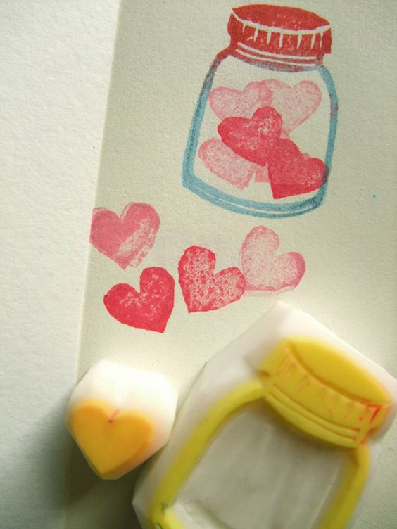 love in a bottle rubber stamp hand carved rubber