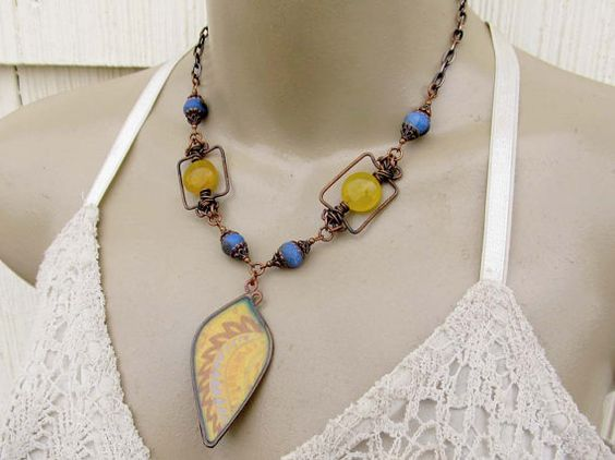 Bold Bohemian necklace set  yellow Chunky by Gypsymoondesigns, $69.00