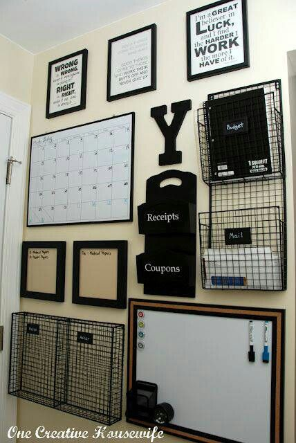 Good wall space for family command center. Must have space for backpacks, computer,  and desk/project table, too.