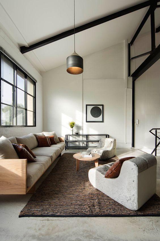 Lagerhallen, moderne Wohnzimmer and Modernes Wohnen on Pinterest