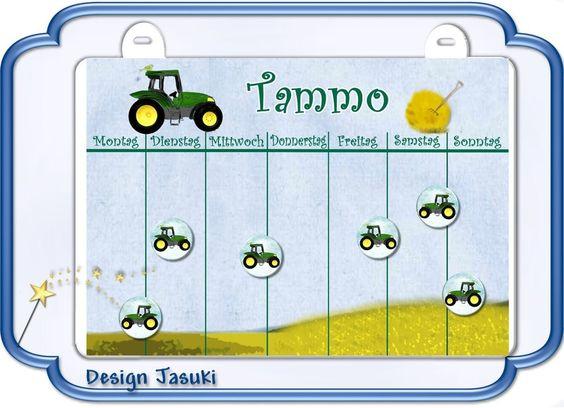 Magnettafel /Wochenplan,  Motiv Traktor  von Jasuki auf DaWanda.com