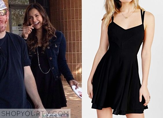 Elena Gilbert (Nina Dobrev) wears this black fit + flare dress in this episode of The Vampire ...