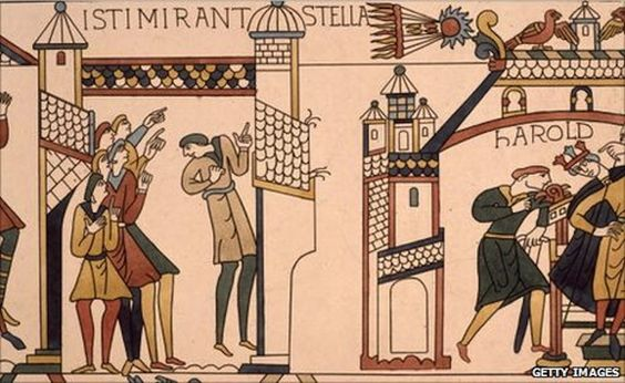 "Halley's Comet on the Bayeux Tapestry. It was seen by some as an ill omen for King Harold of England, who was then defeated by French invaders. ©Mona Evans ""Halley's Comet"" http://www.bellaonline.com/articles/art44795.asp"