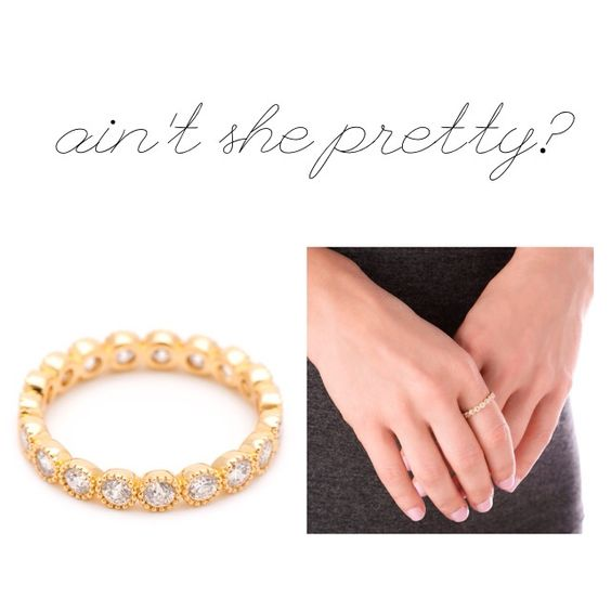 Ain't she sparkly? Gorjana gold plated CZ stone Madison ring. Wear alone or stack them. #musthave