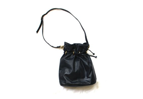 vintage 1990s bucket bag purse leather midnight blue by diaphanousvintage