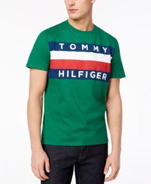 Tommy Hilfiger Men S Upstate Logo Flag T Shirt Green Xxl Tommy Hilfiger Man Tommy Hilfiger Shirts