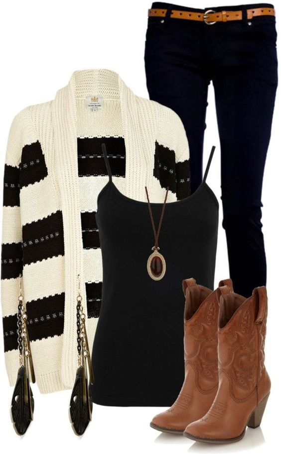 The BOOTS!!  20 Polyvore Outfit Ideas for Winter