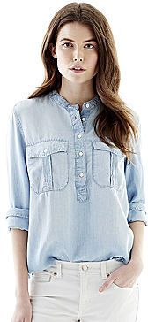 $39, Light Blue Denim Shirt: Joe Fresh Long Sleeve Chambray Top. Sold by jcpenney. Click for more info: http://lookastic.com/women/shop_items/174473/redirect