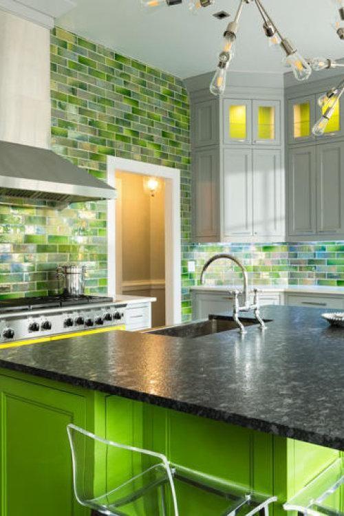 Kitchen Walls Green Backsplash