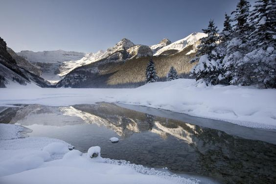 Lake Louise and surrounding mounatins in winter, Canada. www.wildcanadasalmon.com