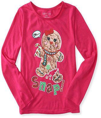Aeropostale Kids Ps Girls' Long Sleeve Oh Snap! Sleep Tee Shirt