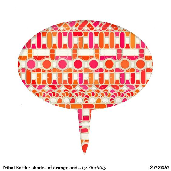 Tribal Batik - shades of orange and pink Cake Pick