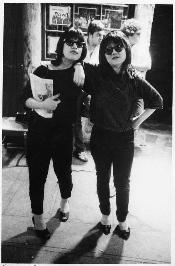 Sylvia Morales (who would go on to marry Lou Reed) and downtown scenester/Mudd Club co-founder Anya Phillips strike a pose (1977).
