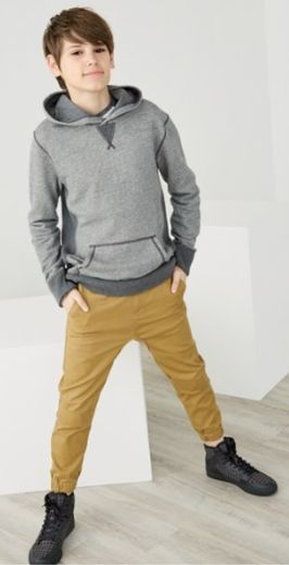 cotton blend hoodie paired with woven jogger pants for boys