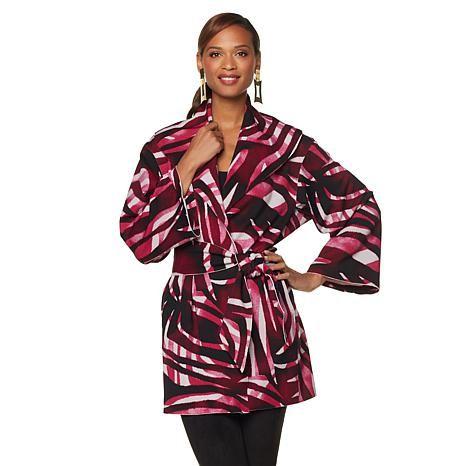 N Natori Printed Scuba Knit Belted Topper: