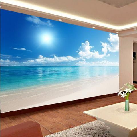 3D Calm Ocean Beach Blue Sky Wallpaper Mural Wall Art