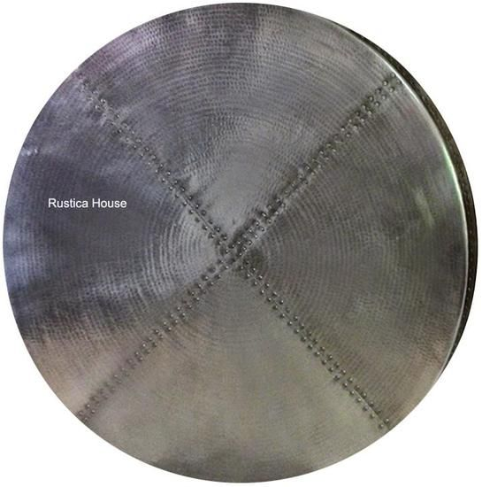 30 Diameter Zinc Table Top On Sale For Kitchen Dining Or Living Room It Has Been Hammered In Natural Metal Color In Stock Item Available For Imediat The Hood