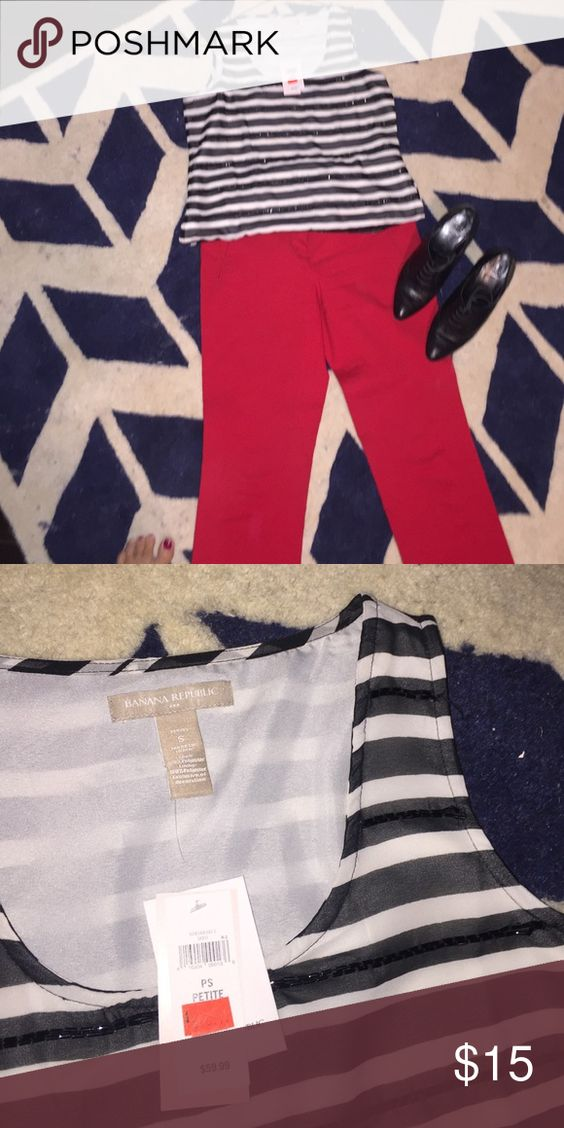 Black and white stripe beaded top Cute shell Top from Banana Republic! Never worn (NWT) excellent condition! Sequins to give it a more classy look. Banana Republic Tops Camisoles