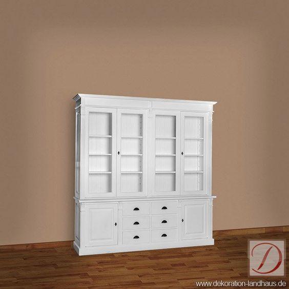 Buffetschrank STANFORD weiß B223cm Pinie Massivholz - Handwerkskunst alter Tradition formt die Silhouette dieses Möbelstücks. Präsentieren und rahmen Sie Ihre Kostbarkeiten in landhäuslichenm Stil!