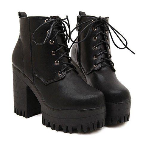 Bottes Fashion Lacets et Noires Design Pour Femmes
