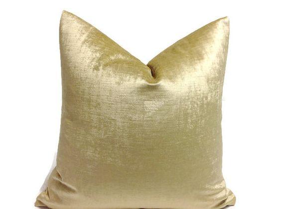Pillows, Gold  Pillows, Throw Pillows,   Velvet Pillow, Golden Pillow,  Decorative  Pillow Cover, Yellow  Pillow    invisible Zipper Closure