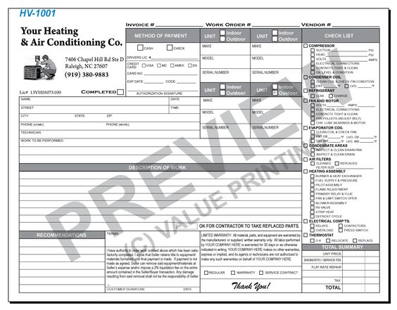 HVAC Flat Rate Service Ticket HVAC Pinterest Flat rate and - work invoices