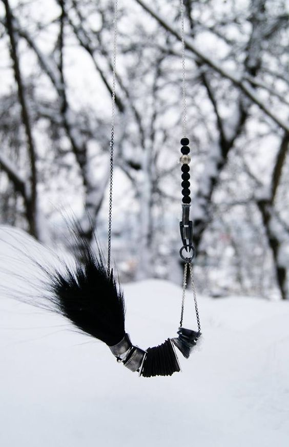 Vika Mayzel  (IL) - necklace (silver,wood,fur,leather)   Out of Cage vikamayzel.com:
