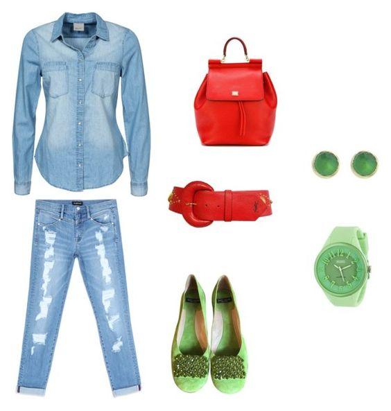 """jean"" by maria-l-v on Polyvore featuring moda, Vero Moda, Bebe, Yves Saint Laurent, Kate Spade, Dolce&Gabbana y Crayo"