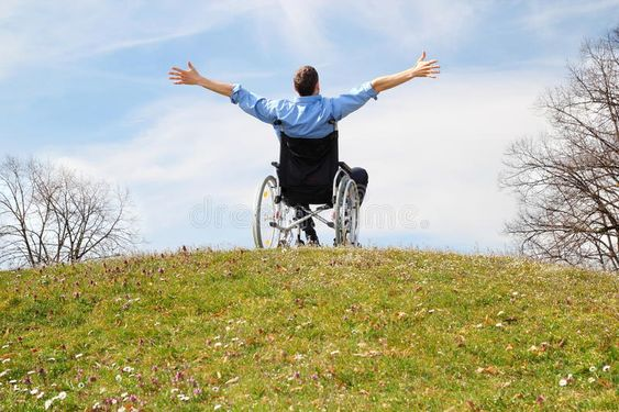 Happy Wheelchair user on a green hill. A Happy Wheelchair user on a green hill , #AD, #Wheelchair, #Happy, #user, #hill, #green #ad