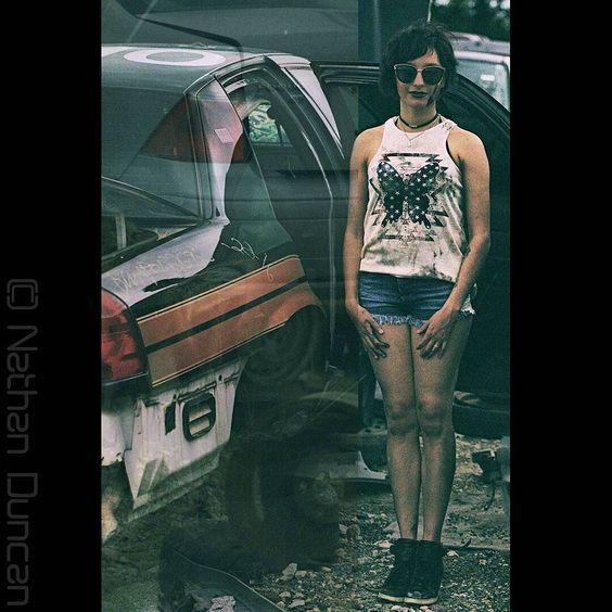 Photographer: Nathan Duncan  Hmua/Model:Ana Smith  Theme: Junkyard Photoshoot #junkyardftw #texasgirlsdoitbetter #abstract #policecar #carmodel #cargirl #model #ladymechanic #followme #photooftheday #photoshoot by anakarensilvanegrete