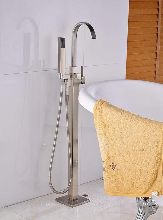 Brushed Nickel Free Standing Bathtub Faucet Tub Filler Mixer Tap W//Handheld