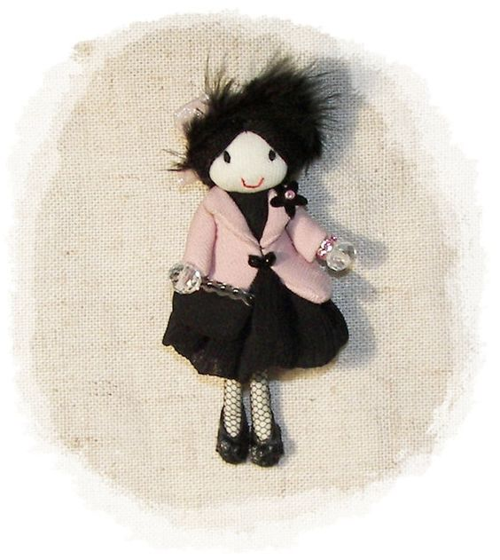 Doll Brooch Party Dress Feather Hat Pin Leather Shoes  Handmade  3.5 in 9 cm  $46.47