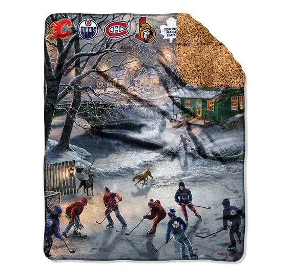 Canadian NHL Teams Fleece Throw with Sherpa Backing