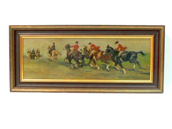 Orginal Gemälde von H. Henrich München, Reiter beim Ausritt (Parforcejagd) Technik: Öl auf Holz Masse: 53 cm x 23 cm mit Rahmen Signiert unten rechts H. Henrich Mch.  $320.00